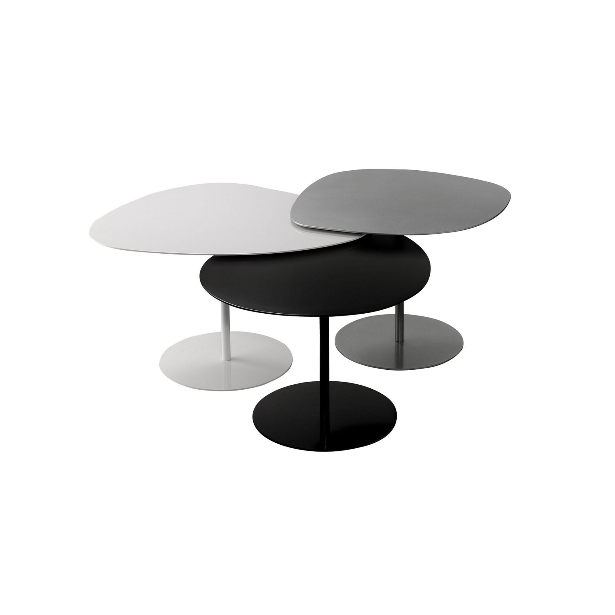 tables basses indoor galets blanc gris alu et noir matiere grise