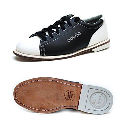 Bowlio Classic – Chaussures de bowling en cuir blanc et noir – Adulte et enfant, Pointure:45, Farbe (Schuhe):Noir/Blanc
