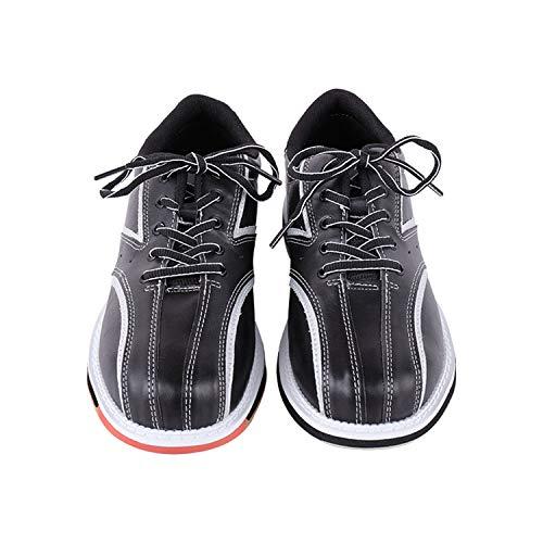 FJJLOVE Chaussure De Bowling, Bols Légers Unisexes Chaussures À Lacets en Cuir Décontracté Chaussures De Sport À L'intérieur pour Hommes Femmes,Noir,38