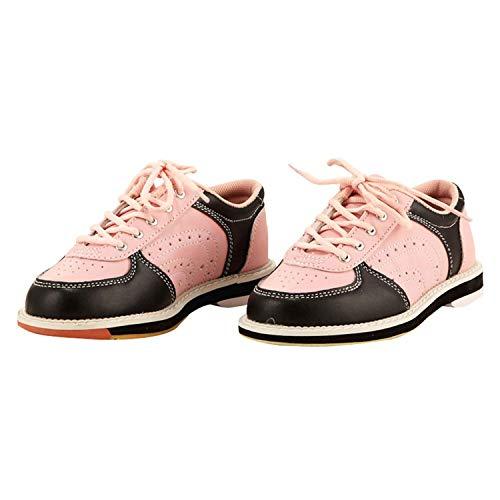 FJJLOVE Chaussure de Bowling pour Femmes pour Hommes, Chaussure intérieure Casque légère Chaussures à Lacets Plats à Semelle Plate Chaussures pour Unisexe,Rose,32