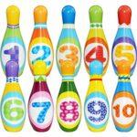 JUSTDOLIFE 12pcs enfants jeu de bowling jeu de bowling de développement bowling pin avec boule de bowling