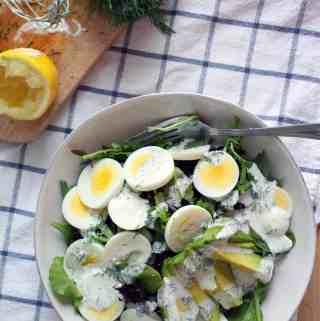 Mixed Greens Salad with Egg, Avocado, and Creamy Lemon-Dill Dressing
