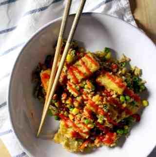 Fried Rice with Crispy Tofu