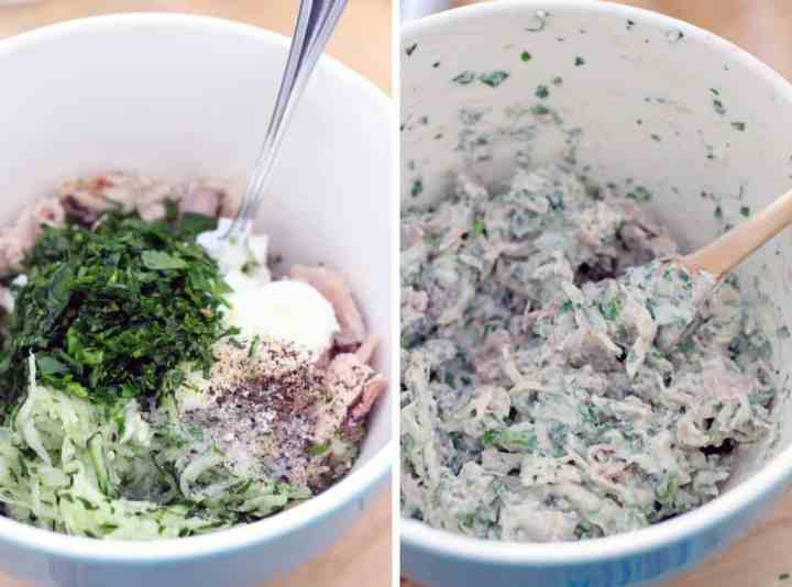 Cool, tangy, refreshing, and healthy- this tzatziki chicken salad is mixed with Greek yogurt, cucumber, herbs, vinegar, and spices for an easy meal!