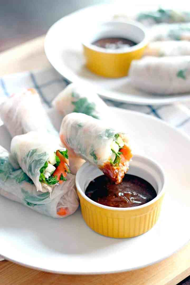 Vietnamese Shrimp Spring Rolls with Spicy Hoisin Peanut Sauce are fast, easy, healthy, cool, crisp, and refreshing. Requires NO actual cooking!