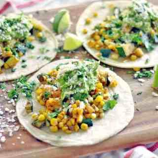 Zucchini and Corn Tacos with Fresh Guacamole
