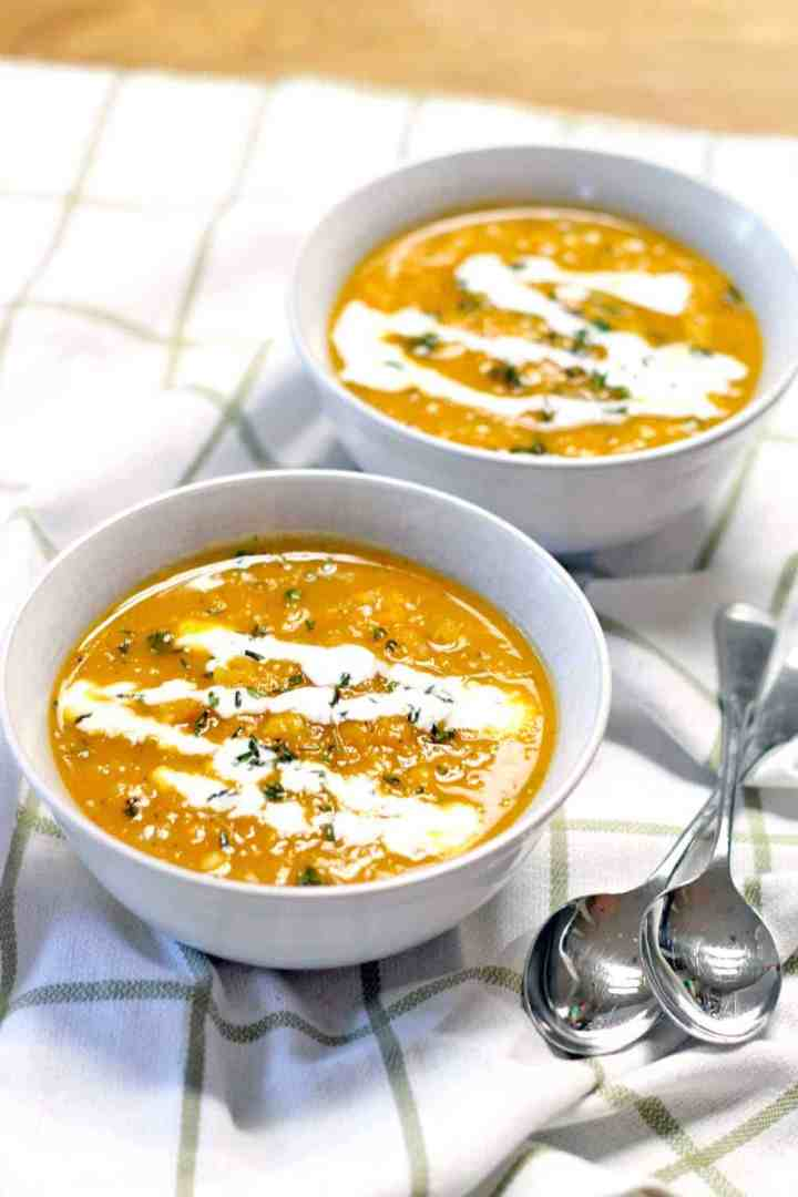 This healthy and delicious butternut squash and thyme soup could not be easier to make! It's like fall in a bowl.