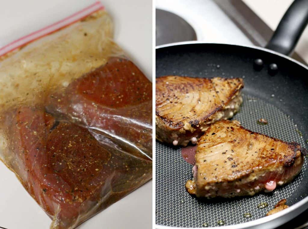 These ahi tuna steaks take only 6 minutes to make! Crispy and seared on the outside; medium-rare on the inside. Healthy, fast, and easy!