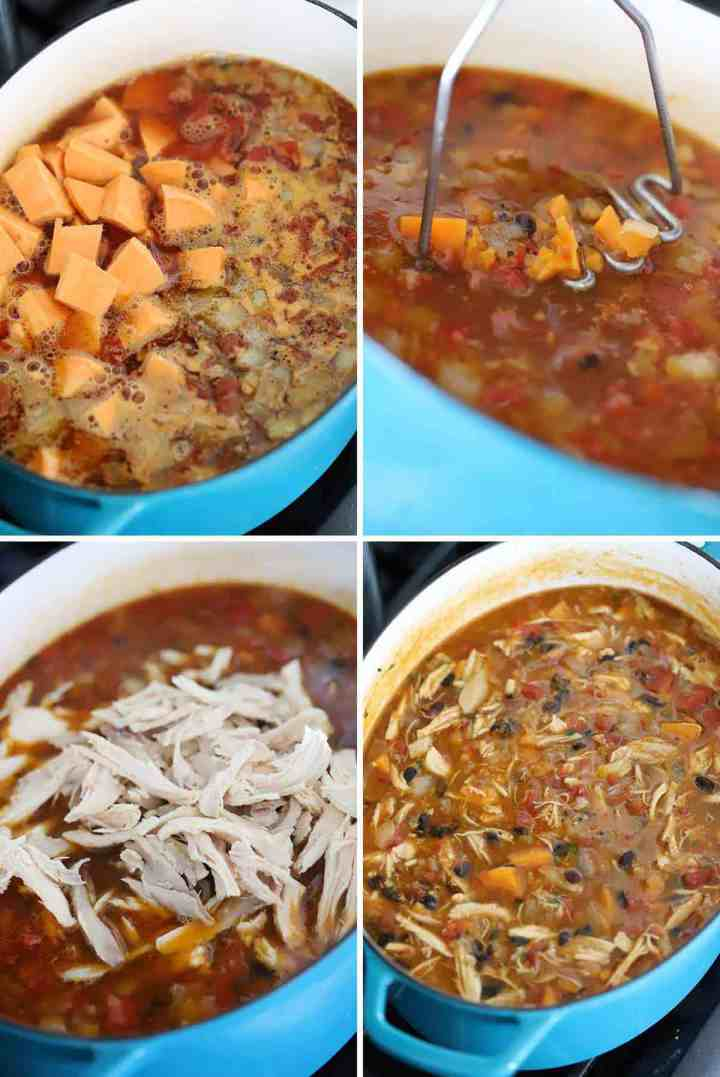 Step by step photo collage of how to make chicken stew with sweet potatoes and black beans.