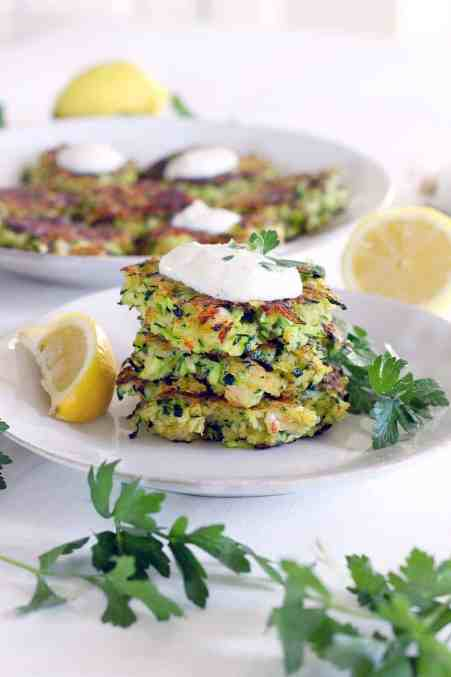 Shrimp and Zucchini Fritters with Yogurt Sauce