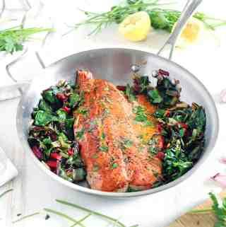 One Pan Garlic Butter Salmon and Swiss Chard