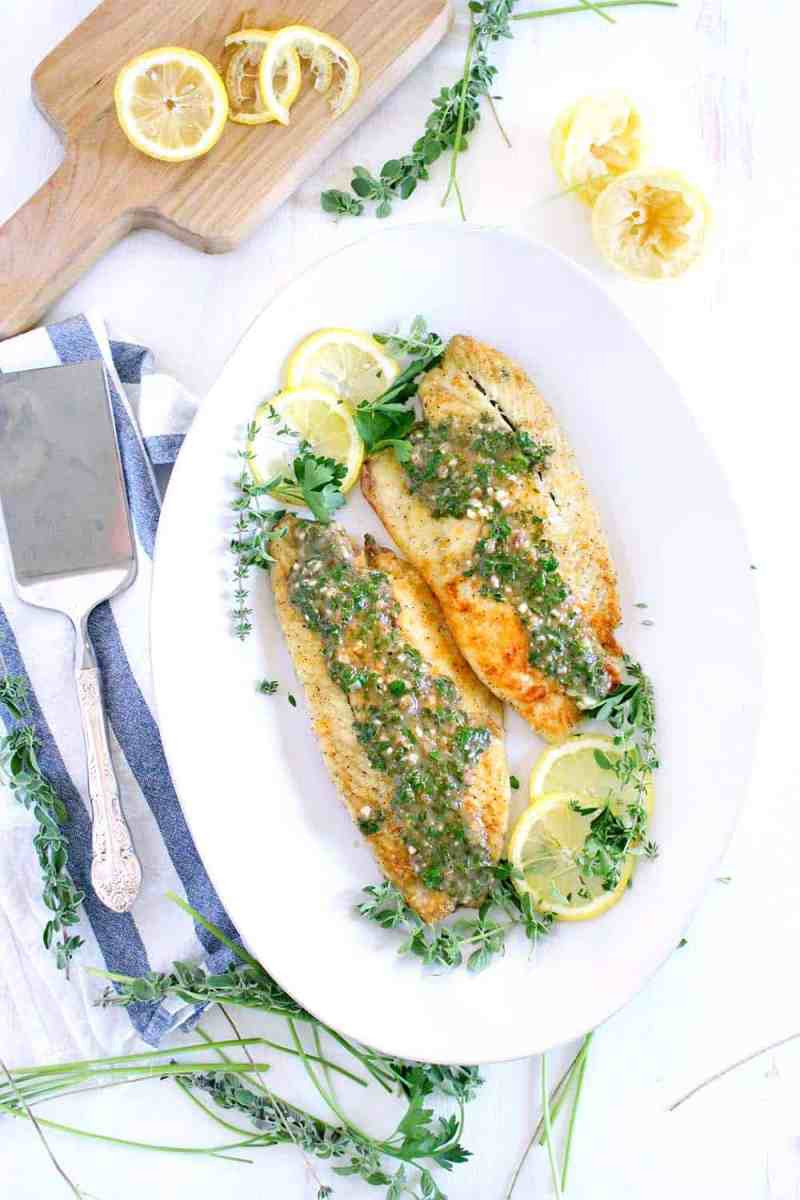 Pan Fried Sea Bass with Lemon Garlic Herb Sauce