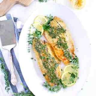 Pan Fried Sea Bass with Lemon Garlic Herb Sauce