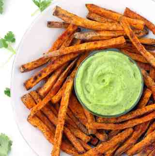 Crispy Baked Sweet Potato Fries with Avocado Cilantro Sauce