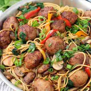 20-Minute Lo Mein with Chicken Teriyaki Meatballs