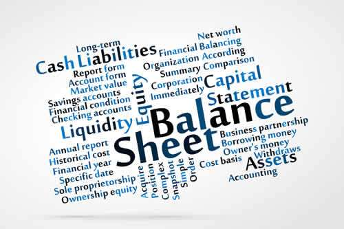 Monthly balance sheet with forecasts