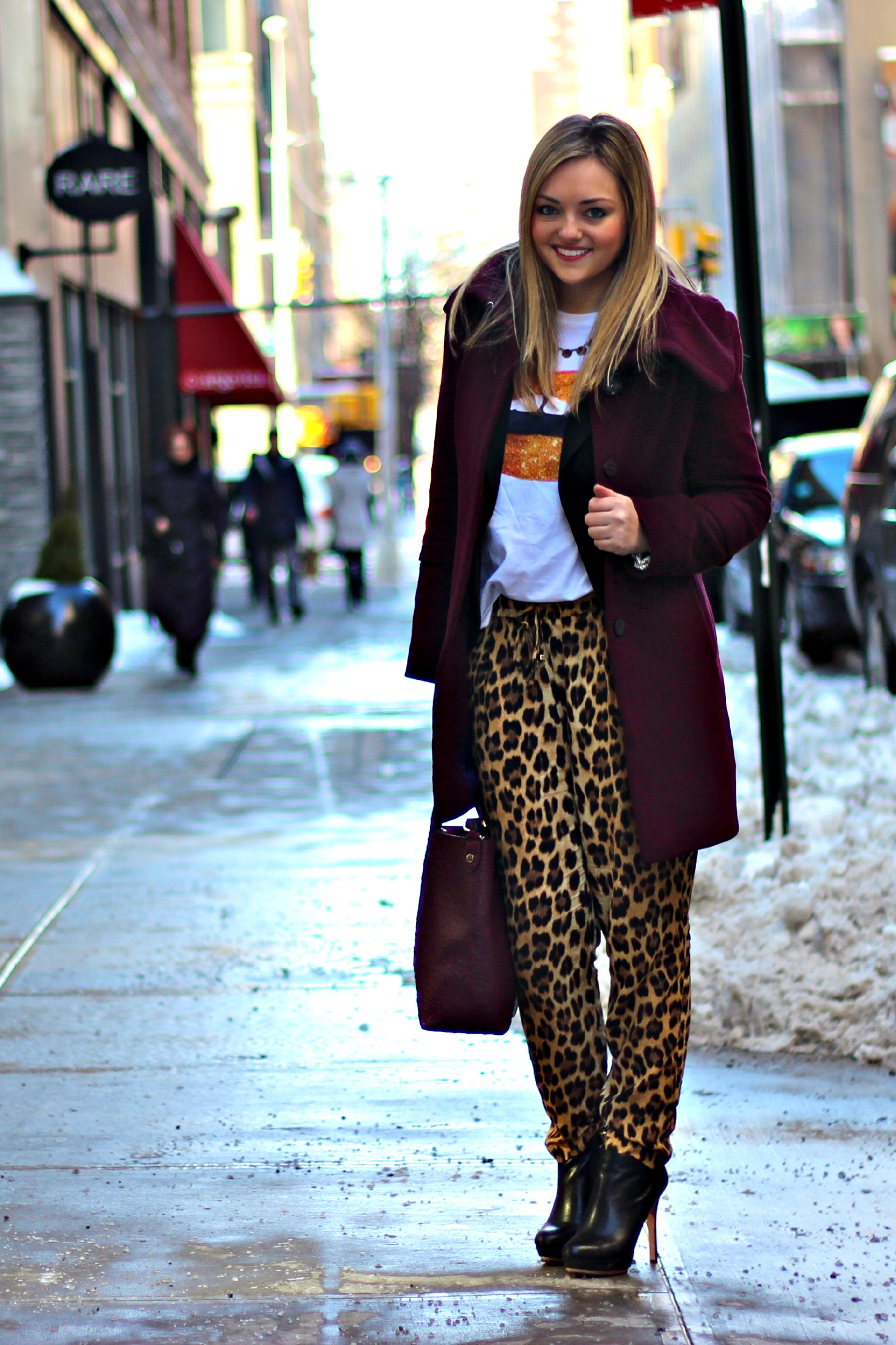 Burgundy Coat Leopard Pants Bows Amp Sequins