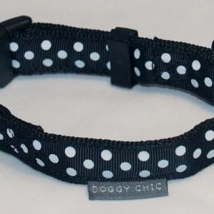 Doggy Chic Black Polka Dot Adjustable Collar on Black Webbing with Plastic Hardware