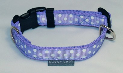 Doggy Chic lilac Polka Dot Adjustable Collar on Forest Lilac Webbing with Plastic Hardware
