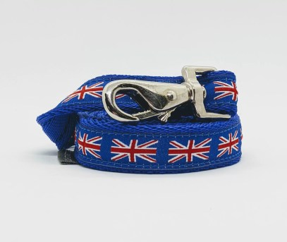 doggy chic union jack dog lead in royal blue