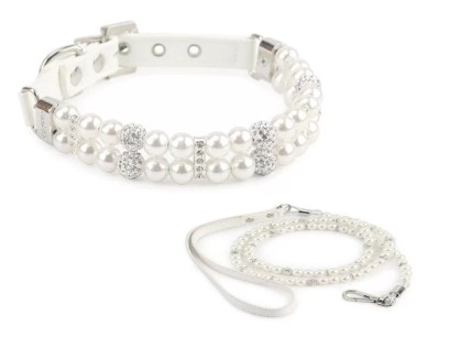 pearl and rhinestone collar and lead set