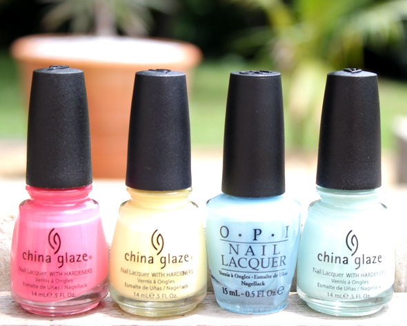 china glaze opi nail polish essie swatch green pink yellow blue mint heli-yum