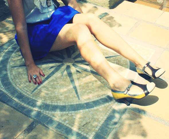 Blue skirt asos bleue jupe nishe blouse