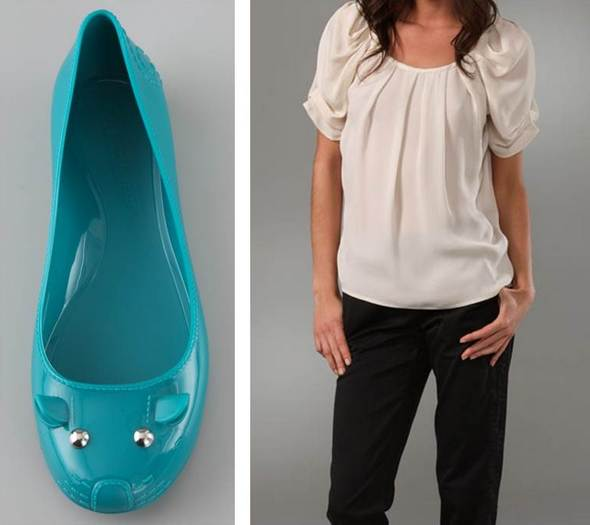 Joie blouse Marc By Marc Jacobs Mouse Jelly Flats Ocean
