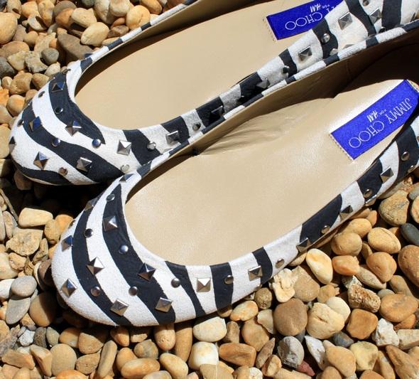 jimmy choo h&m ballerines ballerinas flats zebra zebrées zebre stud