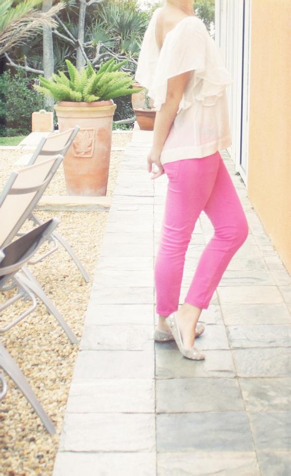 skinny slim rose pink zara blouse mango repetto pastilles