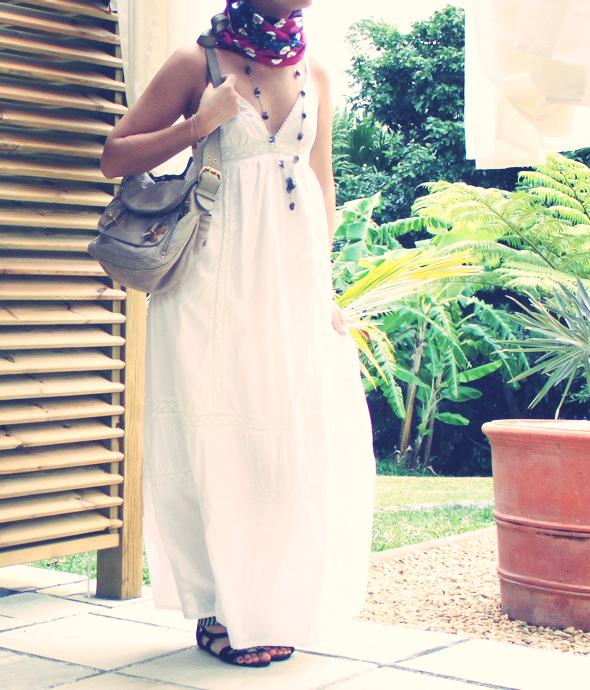 H&m fashion against aids gladiator maxi dress white blanche robe longue