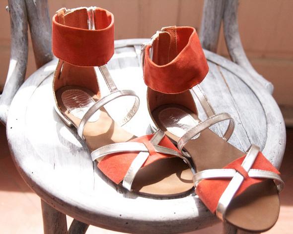 sandales argent orange