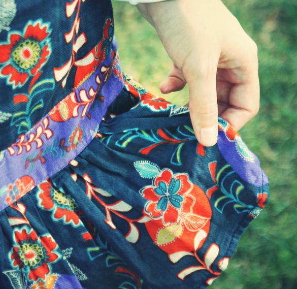 robe bleu orage fleurs mango