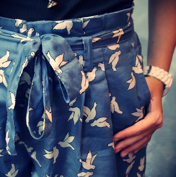 short bleu noue oiseaux blog mode