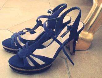 sandales compensees zara bleues