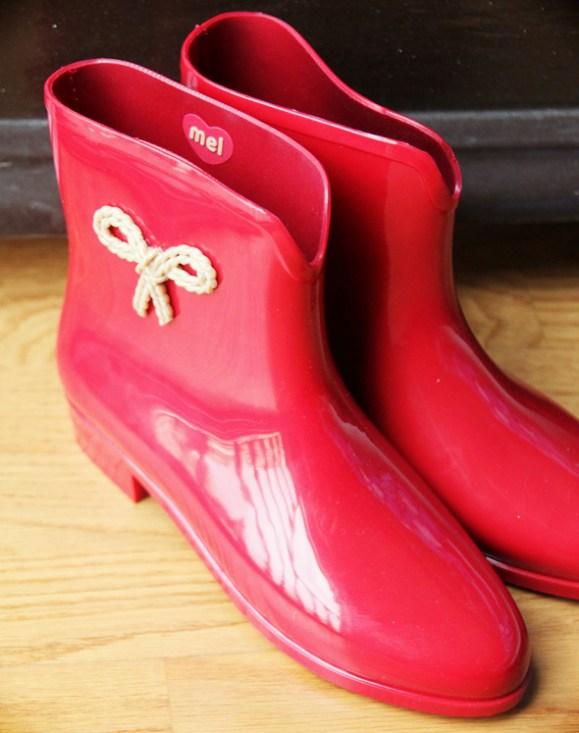 bottines melissa pluie rouges