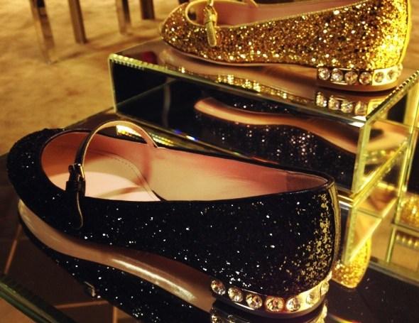 miu miu ballerines ballerinas flats strass glitters heels gold blakc_effected