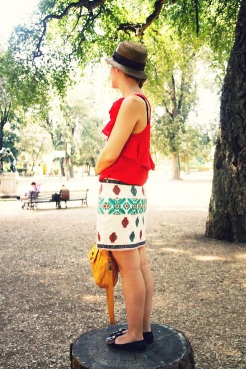 tenue blog mode voyage jupe claudie pierlot zara look style italie