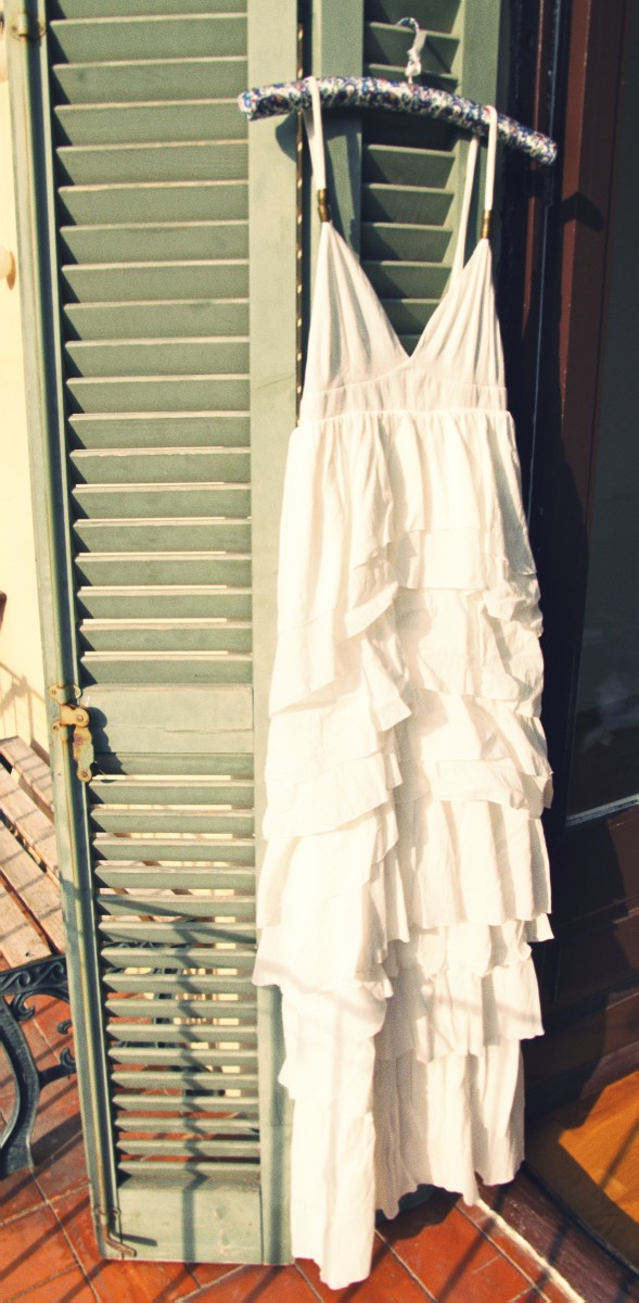 -robe dress longue long h&m ruffles white_effected