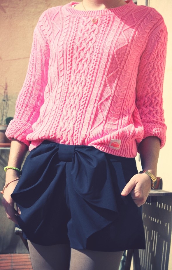 shorts pull knitwear marilyn darel superdry pink neon fluo rose_effected