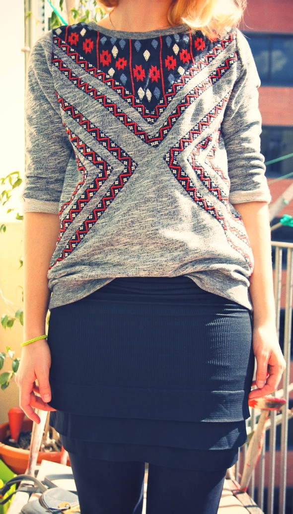skirt jupe free people pull sweat shirt sweater h&m divided aztec 2013_effected