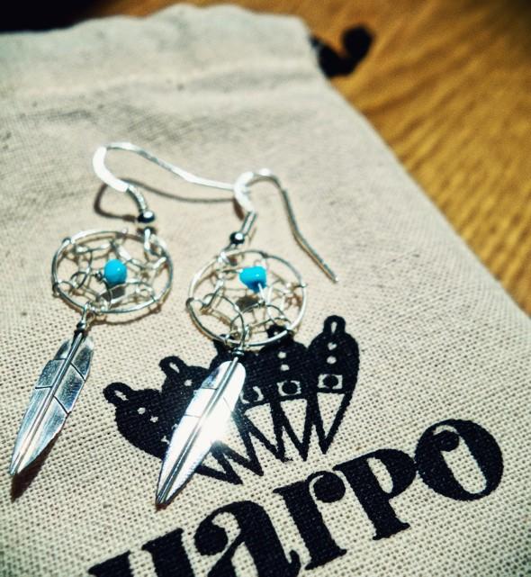 harpo dreamcatcher dream catcher earrings turquoise boucles d'oreilles_effected