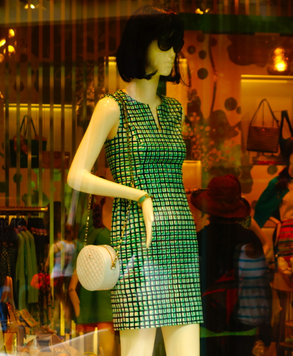 robe dress green checked