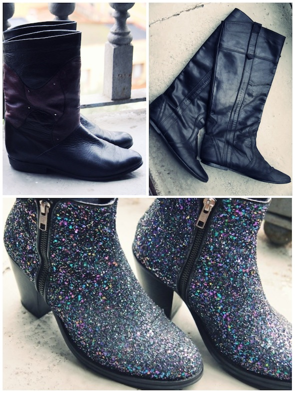 bottes boots salamander vintage jonak topshop glitters ambush black noir bleu blue