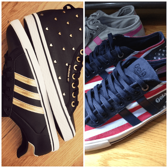 sneakers baskets adidas originals high low coeurs hearts gold black noir doré gola american flag usa pink grey rose gris