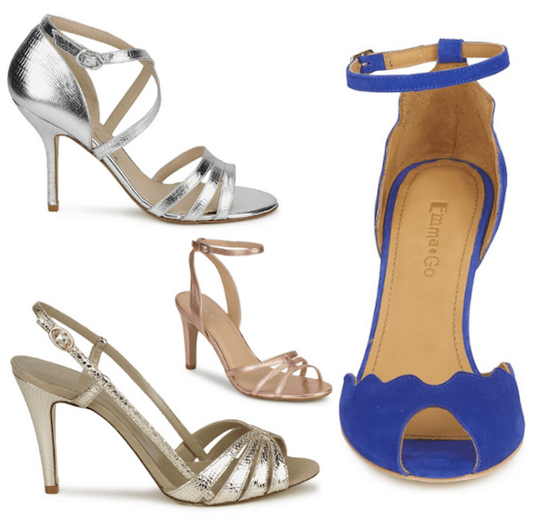 Sélection chaussures talons or argent or rose bleu sandales mariage spartoo