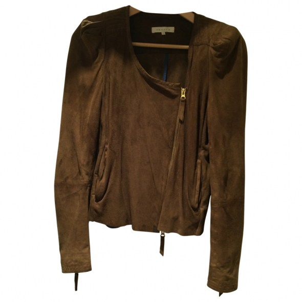 veste camel cuir sandro