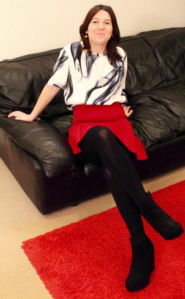 look mini jupe rouge
