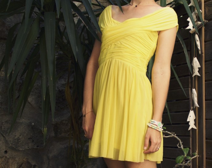 zag_mauboussin_topshop_yellow_neon_wrap_dress_robe_jaune_vif_ballerines_zara_studs_ballerinas_flats_effected