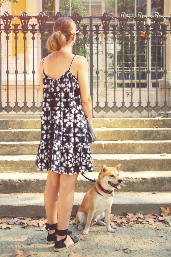 french style tie & dye dress shiba inu doge dog